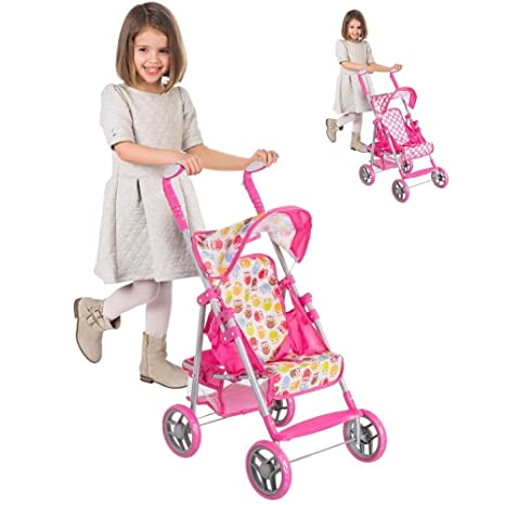 Trade Shop traesio® – Silla de Paseo Cochecito muñecas Juguete Niños Plegable con Capota