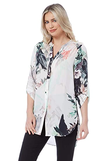 f559f580 Roman Originals Women Printed Roll Sleeve Blouse - Ladies V-Neck 3/4 Sleeve  Daytime Work Office Smart Interview Business Shirts: Amazon.co.uk: Clothing