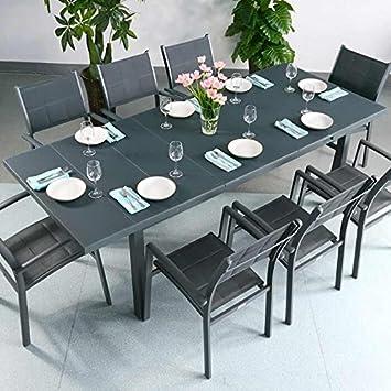 Amazon De Beatrice Tisch 8 Stuhle Grau Gartenmobel Set Mit Ausziehbarem 240cm Tisch