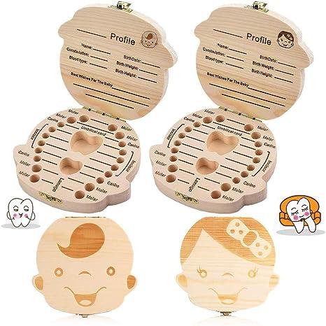 texto bebé dientes caja, 2Pcs save cajas de madera personalizada ...