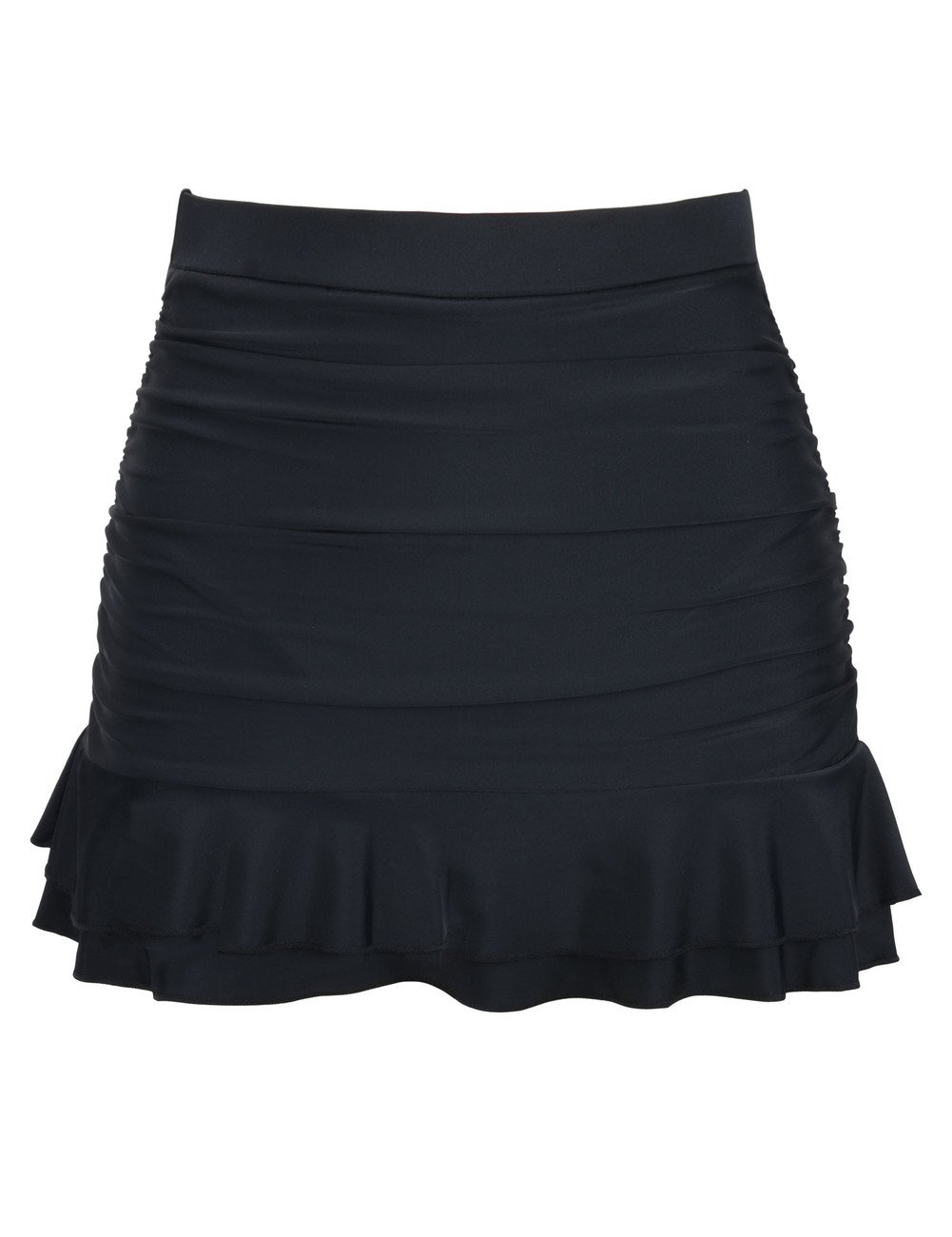 Hilor Women's Skirted Bikini Bottom High Waisted Shirred Swim Bottom Ruffle Swim Skirt Black 10(fits 6) by Hilor (Image #1)
