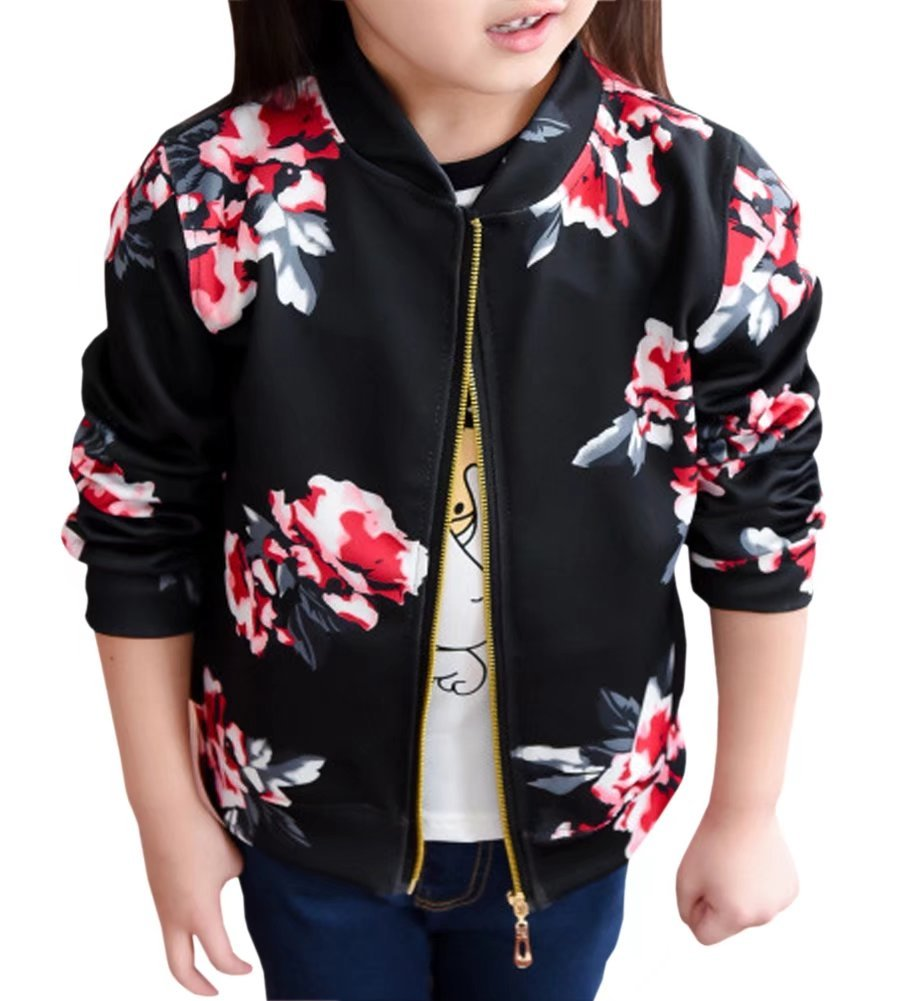 Little Girl's Long Sleeves Vintage Floral Print Casual Bomber Baseball Jacket Coat Outerwear, Black 4-5 Years=Tag 120