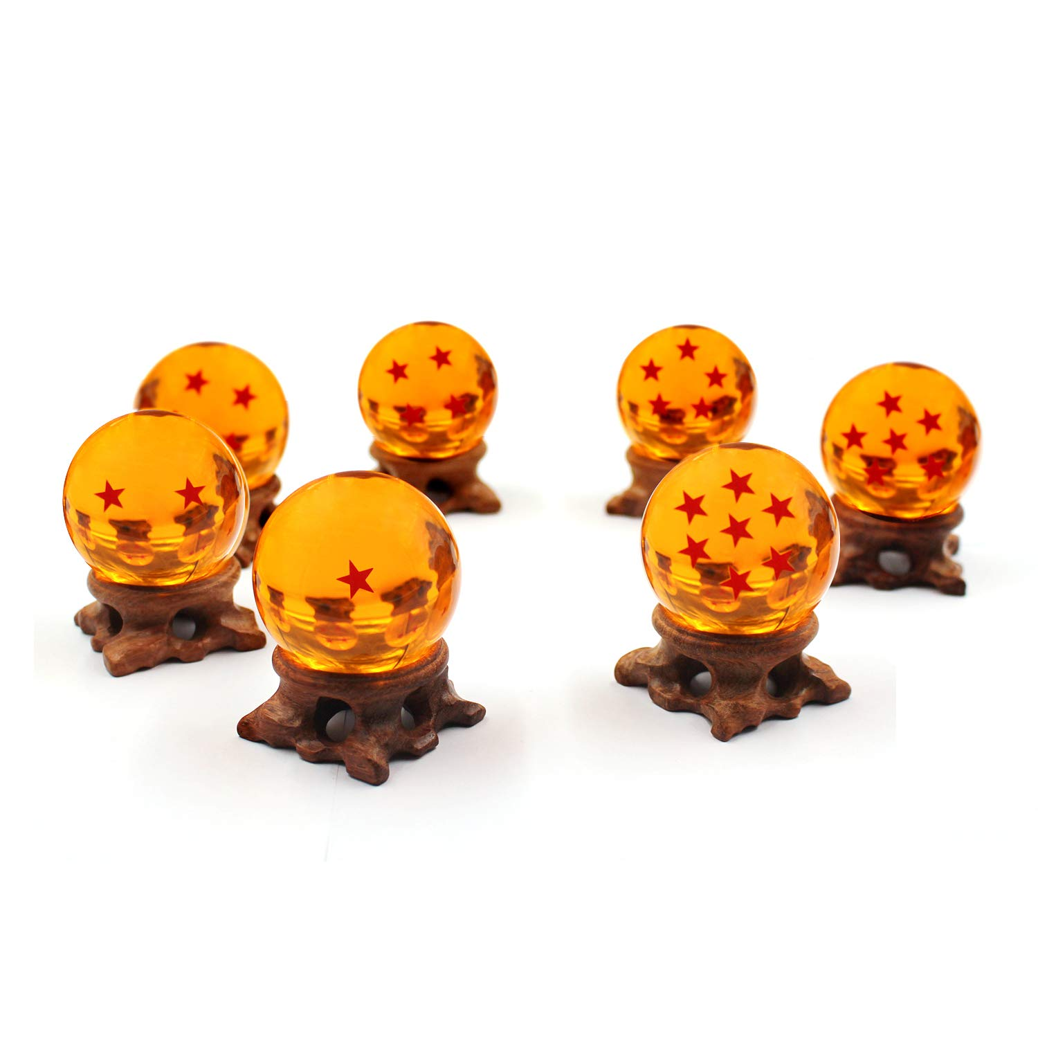 FleurVC 7 pcs Large Star Ball Set with 7pcs Pure Hand-Made Wooden Ball Holders -Red Stars Amber Color Transparent Play Balls(2.3inch) by FleurVC (Image #2)