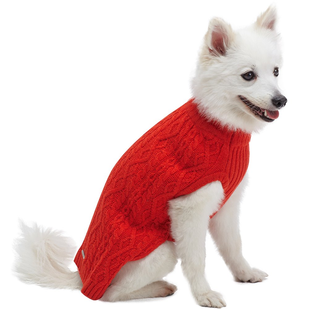 Blueberry Pet 16 Colors Classic Wool Blend Cable Knit Pullover Dog Sweater in Tomato, Back Length 16'', Pack of 1 Clothes for Dogs by Blueberry Pet (Image #3)