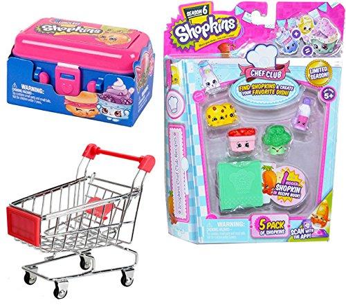Shopkins Figures & Shopping Cart Super Food Bundle / Metal Mini Carriage / lunchbox 2-Pack & Chef Club Season with hidden recipe book Grocery - Shopping App Mirror