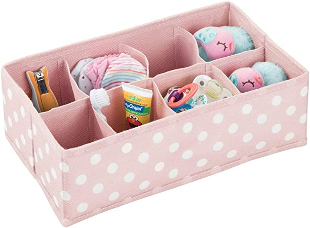 mDesign Caja de almacenaje para habitaciones infantiles o baños – Organizador de armarios con 8 compartimentos – Cesta organizadora para el armario de los niños en fibra sintética – rosa/blanco: Amazon.es: Hogar