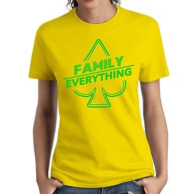96ac65bc95 Amazon.com  Women s Cotton Short-Sleeved T-Shirt Fashion Classic Style Ace  Family Logo Yellow  Clothing