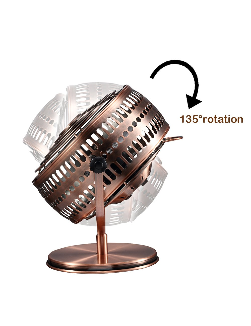 USB Retro Desktop Metal Blades Cooling Fan with 135 Degree Rotation.Perfect for Laptop Notebook PC Desk Table Fan Metal Bronze.