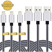 iPhone Charger,3Pack 10FT Lightning to USB Cable Nylon...