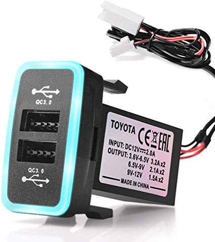 Surface Size: 1.6 x 0.9 inches MICTUNING Dual USB 6.4A QC3.0 Quick Charger with LED Light for Toyota