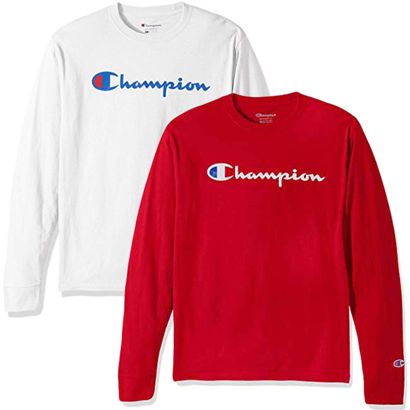64b4816d Champion Men's Classic Jersey Script T-Shirt, Long Sleeve-2 Pack (White and  Red LS, Small)