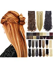 7Pcs 16 Clips 23-24 Inch Thick Curly Straight Full Head Clip in on Double Weft Hair Extensions 20 Colors