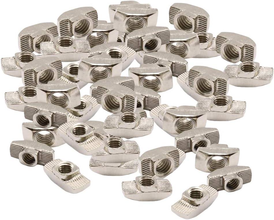 H HILABEE 50 Stk Hammermutter T-Nut Gleitmuttern Gleitverschluss f/ür Aluminium Profil Zubeh/ör Aluminiumprofil der Serie 30 M6