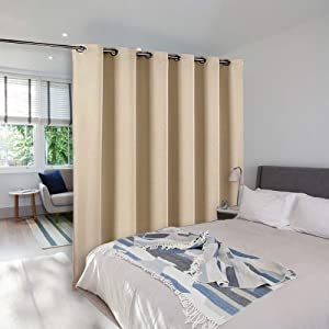 NICETOWN Room Dividers Curtains Screens Partitions, Sliding Glass Door Curtain, Room Screen Divider Curtain Panel for Space Solution (Biscotti Beige, Single Pack, 10ft Width x 9ft Length)