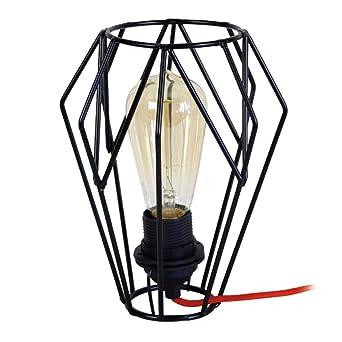 Chevet Et En De Noire Métal Divine Rouge Tissu Lampe 34AqjLSc5R