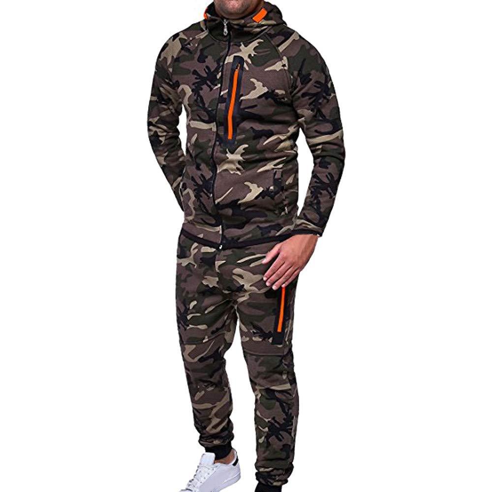 Farjing Clearance Sale Men's Autumn Winter Camouflage Sweatshirt Top Pants Sets Sports Suit Tracksuit(L,Army Green