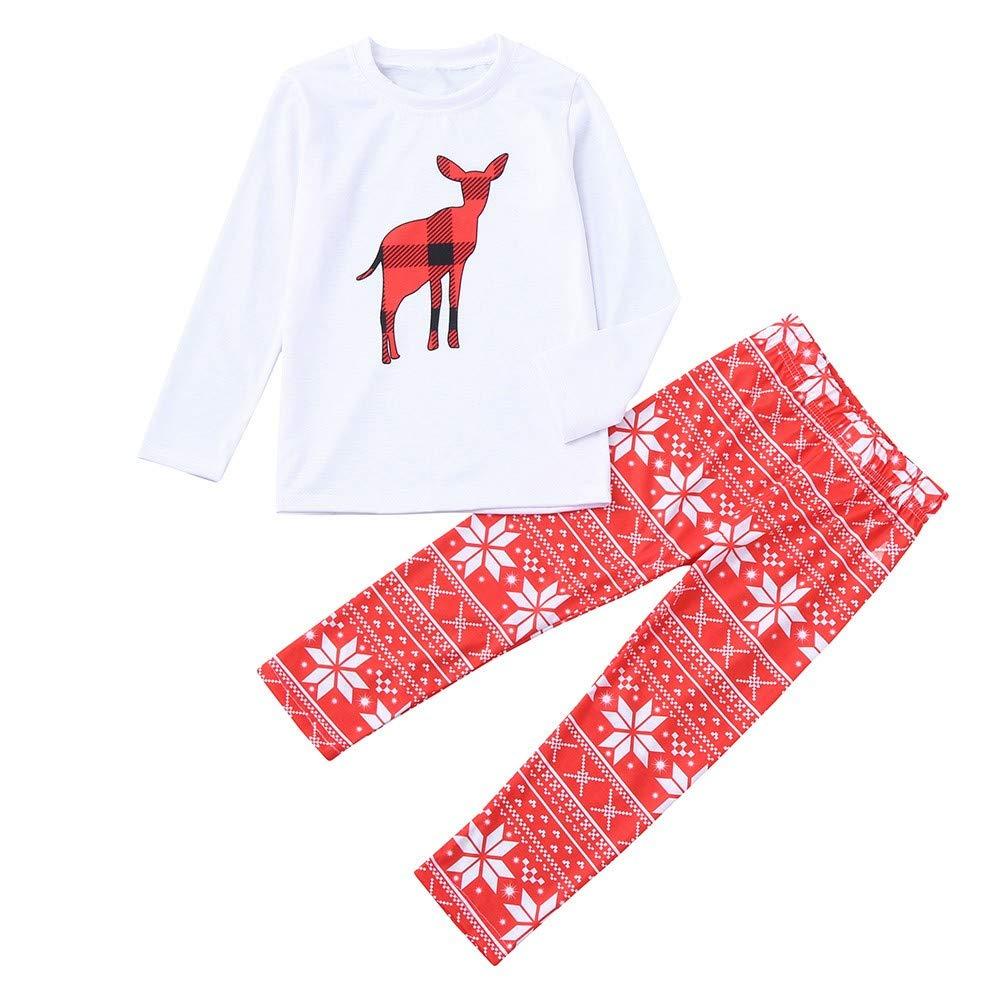 2PCS Kids Christmas Pajamas Sleepwear Set Long Sleeve Tops+Pants Sleepwear Outfit Children Clothes