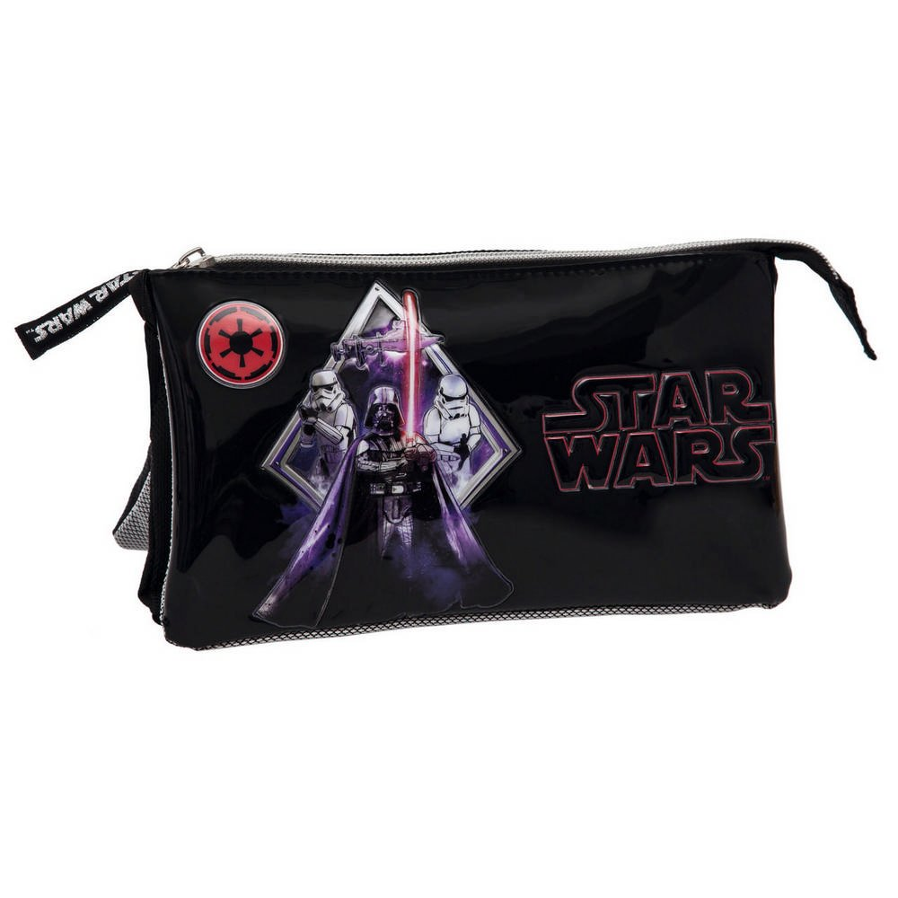 Star Wars Darth Vader Estuche de Tres Compartimentos Color Negro