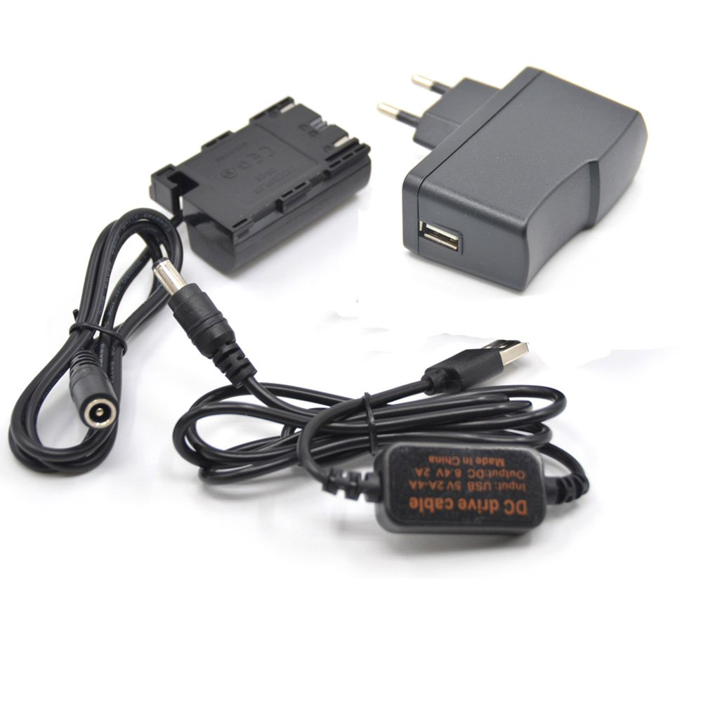 USB Lí nea De Conducció n DC 8.4V ACK-E6+ DR-E6 LP-E6 LP E6 Baterí a Virtual + 5V3A USB Adaptador Se Aplican A La Canon EOS 5D Mark II III 5D2 5D3 6D 7D 60D Vitesun