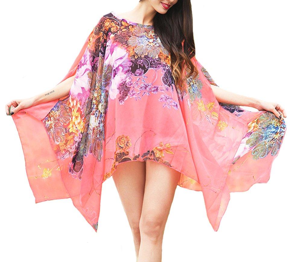 Qunsia Women's Chiffon Caftan Poncho Tunic Top Cover up Batwing Blouse by Qunsia (Image #3)