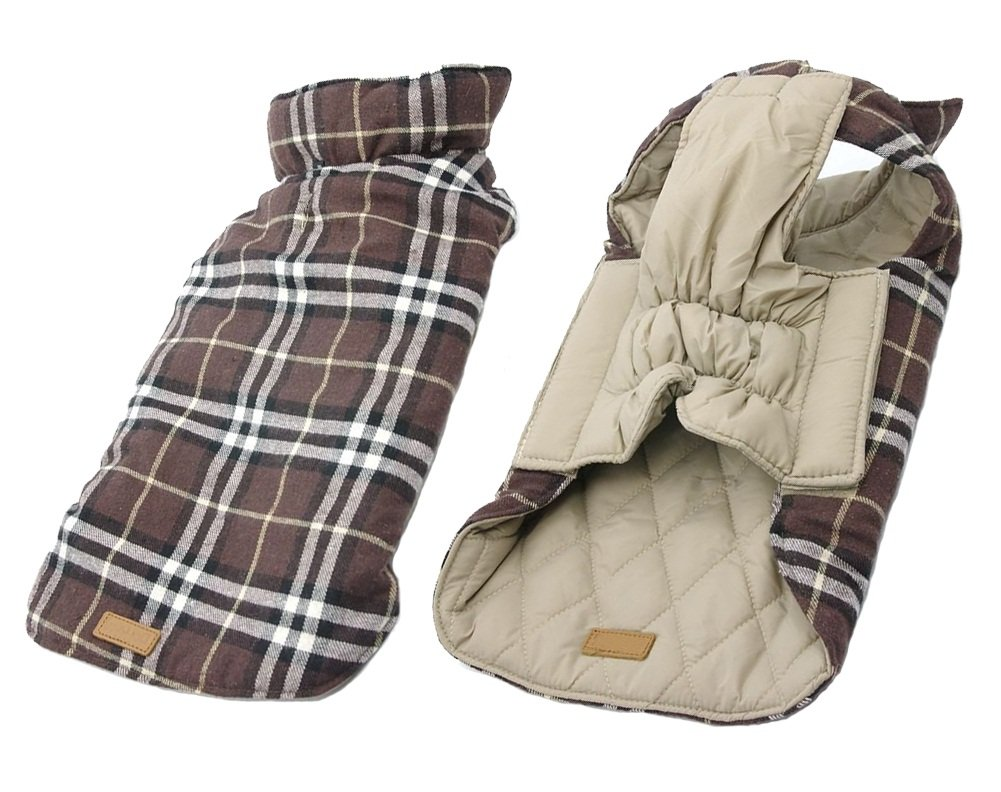 Brown Plaid Beige M Brown Plaid Beige M iToolai Dog Outfits Winter for Medium Dogs Boy Girl Cute Plaid Reversible Warm Dog Costumes(Brown,M)