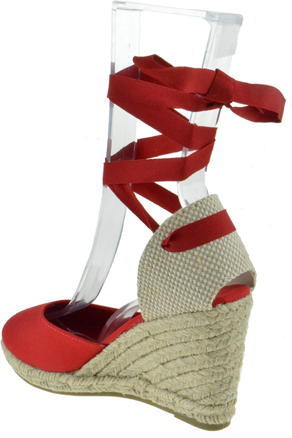 BAMBOO Charade 24 M Womens Fabric Lace Wedge Platform Sandals