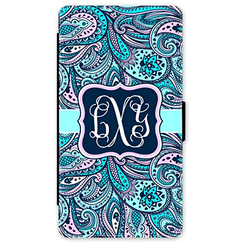 (Simply Customized Wallet Case Compatible with Samsung Galaxy S9 Plus Blue Pink Paisley Monogram Monogrammed Personalized)