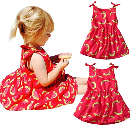 7cd0763bb Amazon.com: FAYALEQ Kids Baby Girls Cute Fruit Watermelon Print Princess Dress  Summer Sleeveless Bowknot Casual Sundress: Clothing