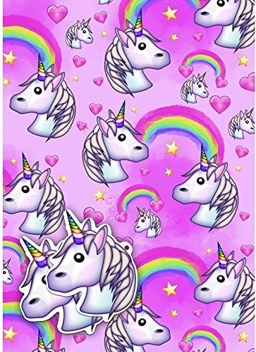 Emoji Licorne Papier Cadeau 2 Feuilles 2 étiquettes Papier Cadeau