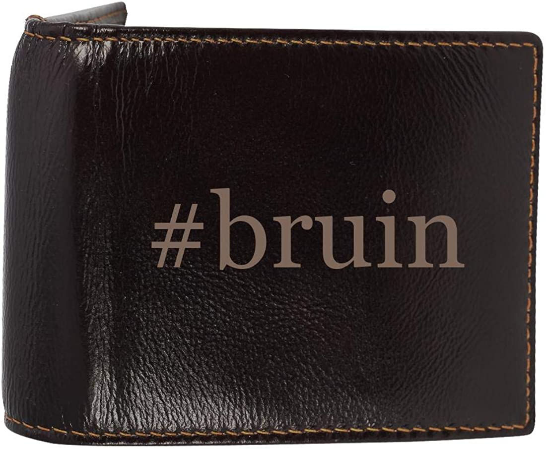 #bruin - Genuine Engraved Hashtag Soft Cowhide Bifold Leather Wallet 61-qnhF0w6L