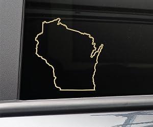 "Nashville Decals Wisconsin Vinyl Decal Laptop Car Truck Bumper Window Sticker, 5.5"" x 5.25"", Metallic Gold Matte"