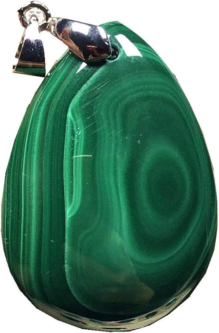 Colgante de cristal de malaquita verde natural para mujeres y hombres, 37 x 26 x 9 mm, piedra de crisocola de plata 925 con colgante de moda AAAAA