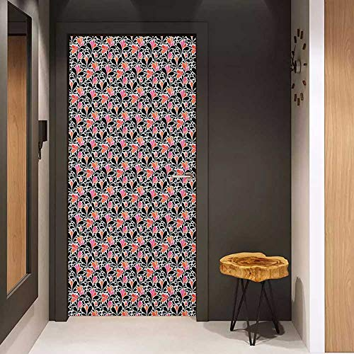 Onefzc Door Sticker Mural Abstract Paisley Style Pattern of Water Splashes Ombre Motifs with Floral Influences WallStickers W31 x H79 Coral Pink Black