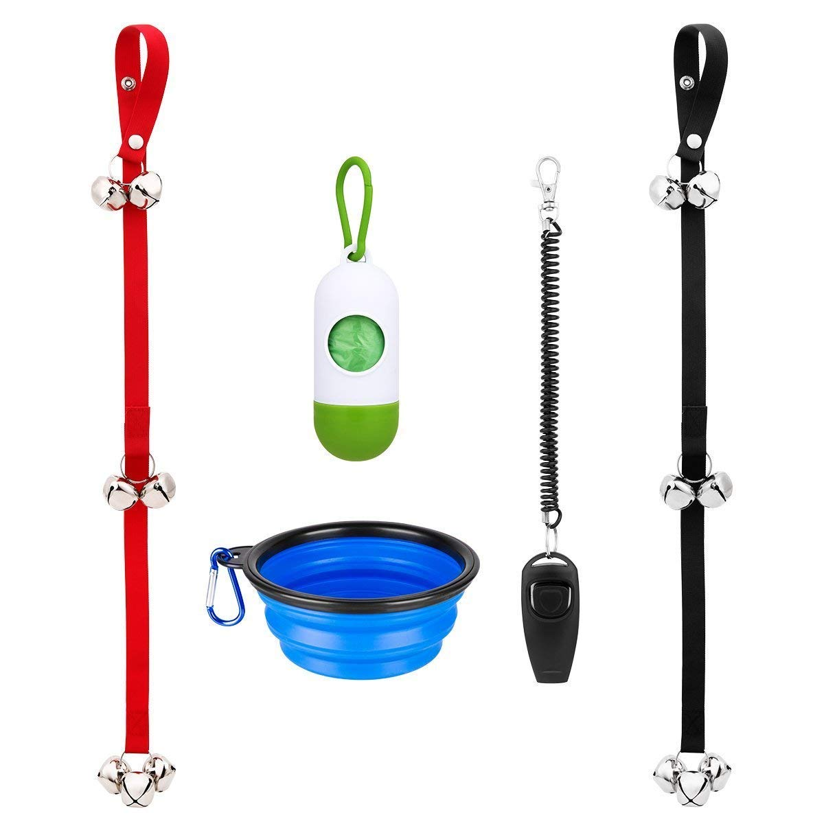 Loilee Dog doorbell Set for Dog Training and Housebreaking with One Clicker and One Dog Waste Bag Dispenser