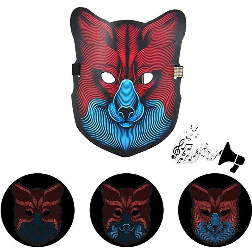 Máscaras LED The Purge, Zolimx Halloween Payaso Sonido Reactivo Cara Completa LED Luz Hasta Máscara de Baile Rave EDM Plur Party (#1) zolimx-1987