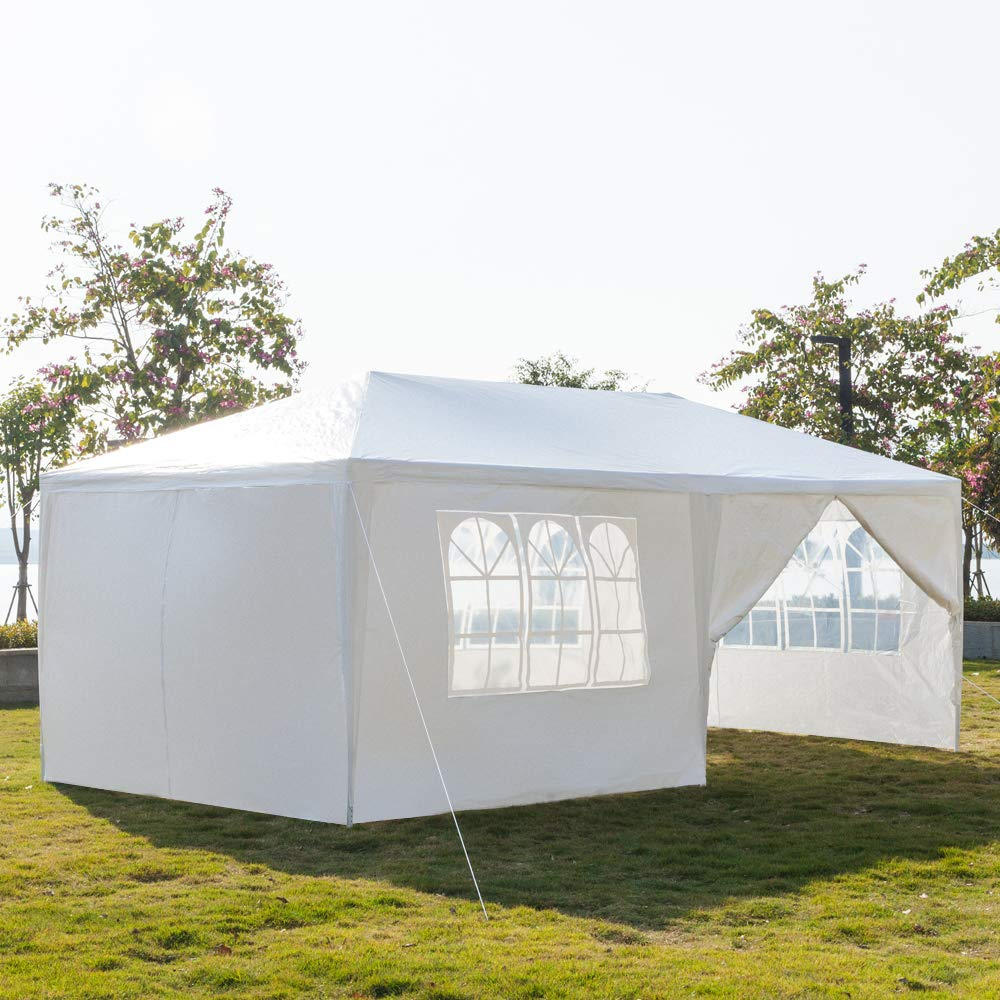 Lovinland 3 x 6m Outdoor Party Tent Canopy Six Sides Two Doors Waterproof Tent with Spiral Tubes White