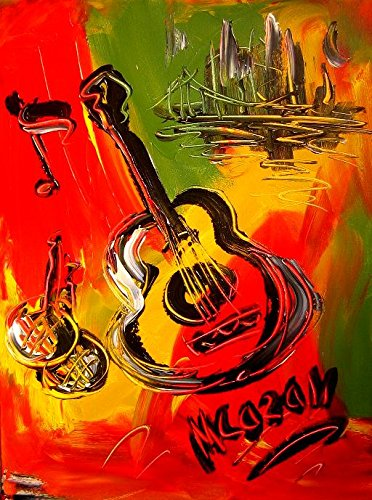 guitar-art-for-sale-by-artist-mark-kazav-ready-to-display-palette-knife-texture-impressionist-fine-a