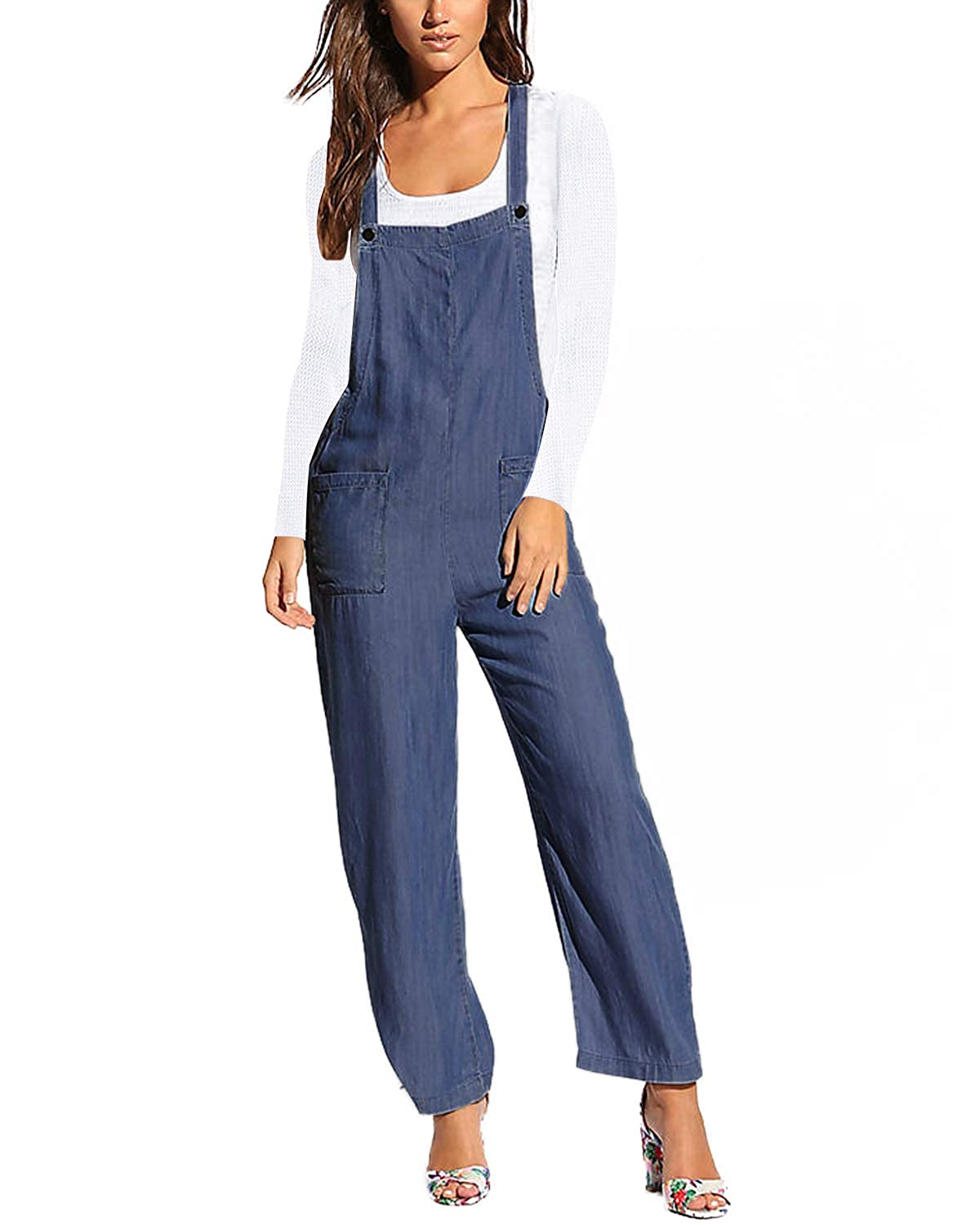 Cottagecore Clothing, Soft Aesthetic ACHIOOWA Bib Overalls Denim Jumpsuits Front Pocket Rompers Strappy Pants for Women Casual $25.99 AT vintagedancer.com