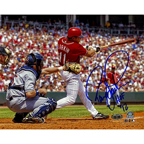 (MLB Cincinnati Reds Barry Larkin Swing Horizontal 8x10 Photo with HOF 2012)