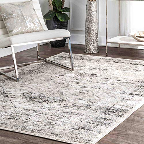 nuLOOM CFDR05A Vintage Speckled Shaunte Area Rug, 8' x 10', Silver