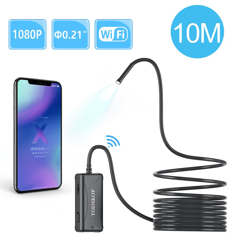 Wireless Endoscope, TODSKOP 5.5mm WiFi Borescope 1080P Semi-Rigid Waterproof Inspection Camera, 2.0MP HD Snake Pipe Camera for Android and iOS Smartphone, iPhone, Samsung and more Tablet PC(10m/33FT) by TODSKOP