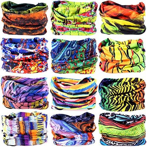 6PCS/8PCS/9PCS/12PCS Seamless Headband camo Bandanas Headwear for Men&Women Neckwarmer Scarf 16-in-1 Multifunctional for Music Festivals Raves Neck Gaiter Magic Scarf Fishing(12PCS-5GREEN Color)