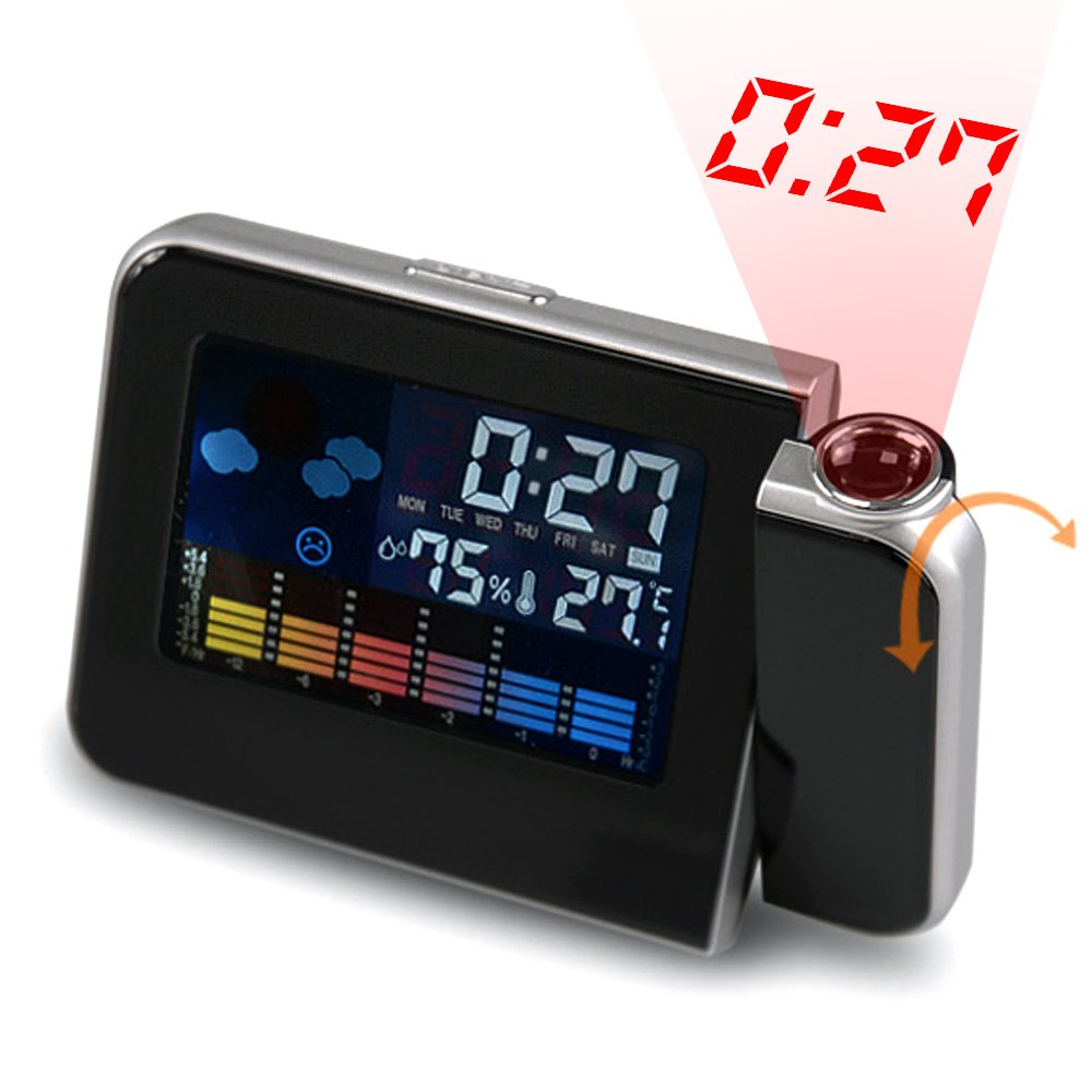 Weather Station Forecast Temperature Humidity LCD Digital Alarm Desk Projection Projector Clock Home Clock