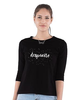8a9de9dc Melcom Women's Cotton Round neck 3/4 sleeved Despacito T-shirt (mwt-