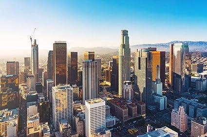 Póster de la Antena del Atardecer de Los Ángeles de Downtown ...