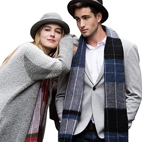 Erigaray 100% Wool Mens Scarf Plaid Winter Warm Fashion knit Scarfs For Men by Erigaray (Image #7)