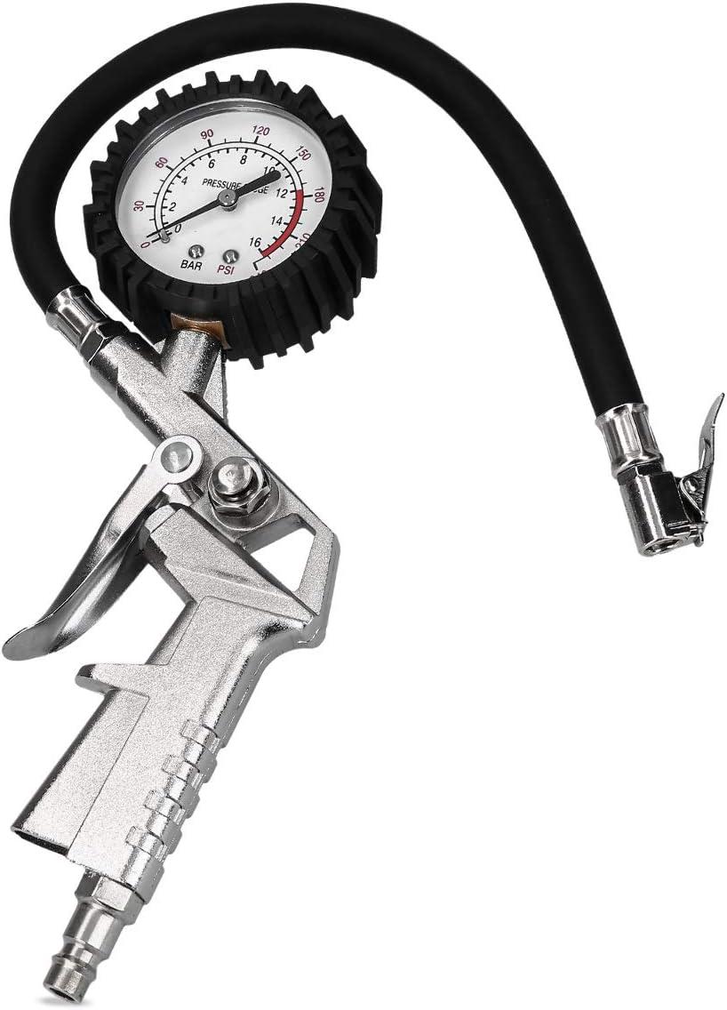 Navaris Manómetro e inflador para Ruedas - Medidor de presión de neumáticos para Coches Motocicletas Bicicletas - Pistola de inflado - Tubo de 30CM
