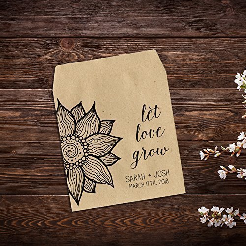 Sunflower Favor Seed Packet Favor Seed Packets Rustic Wedding Favor x 25 Wedding Favors Let Love Grow Custom Seed Packets