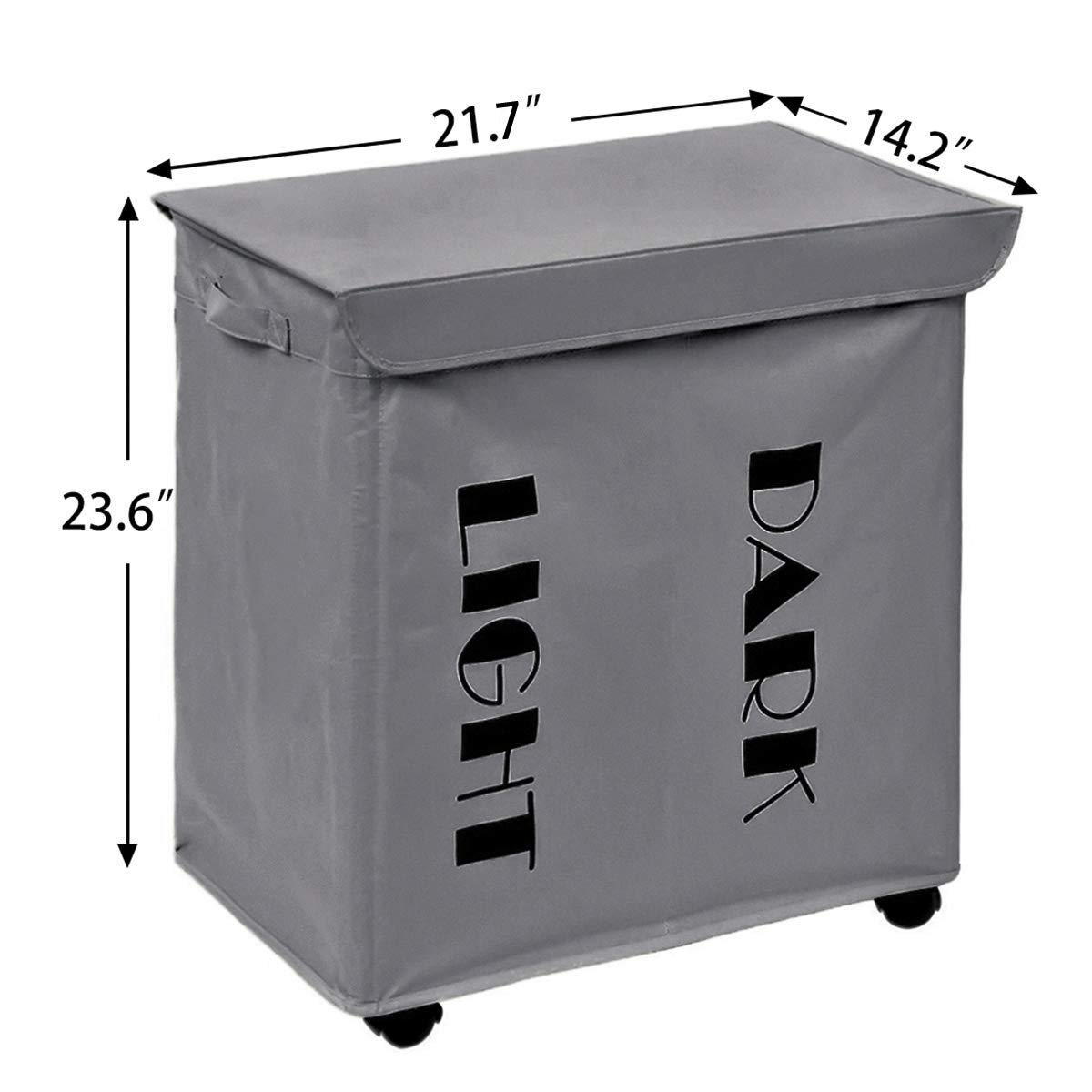 ZERO JET LAG Rolling 2 Section Double Laundry Hamper with Stand Foldable Large Dirty Laundry Hamper Basket Handy Waterproof Sorter and Organizer on Wheels 21.7\