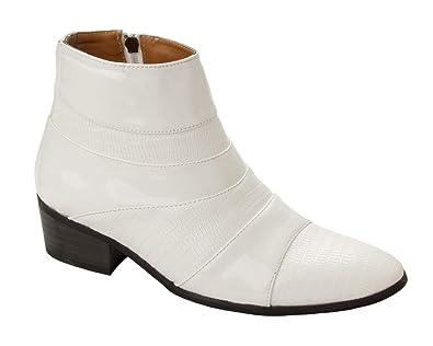 16609332e51 Mens White Patent Smart Italian Dress Cuban Heel Boots Gents Formal ...